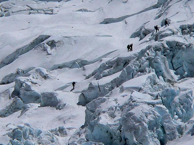 Climbers At Khumbu Icefall
