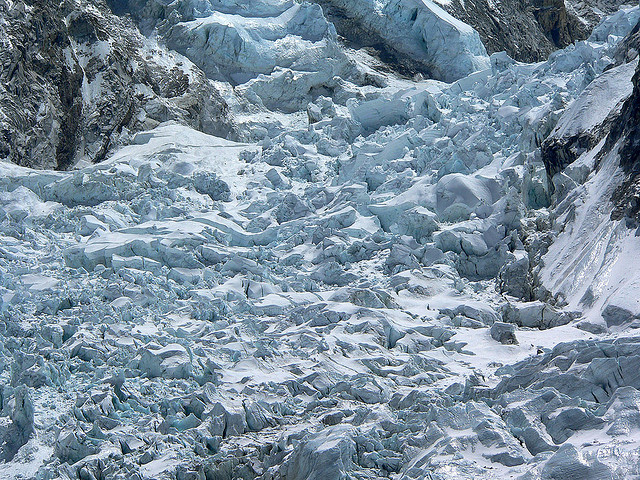 Expeditions Heading Up Khumbu Icefall